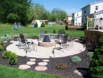 Paverstone patio and custom fire pit hardscaping