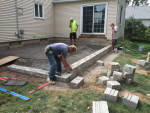 Hardscaped walls being installed