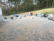 Paverstone hardscape driveway with landscaping.