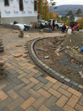 A hardscaping project in process of being installed.